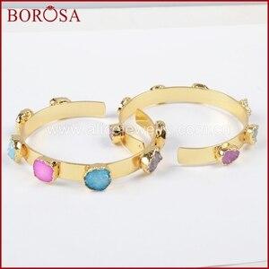 Image 4 - BOROSA Mix Farben tiny druzy armreif bunte 7 steine Kristall druzy armband armreif mode schmuck edelsteine für frauen G1098
