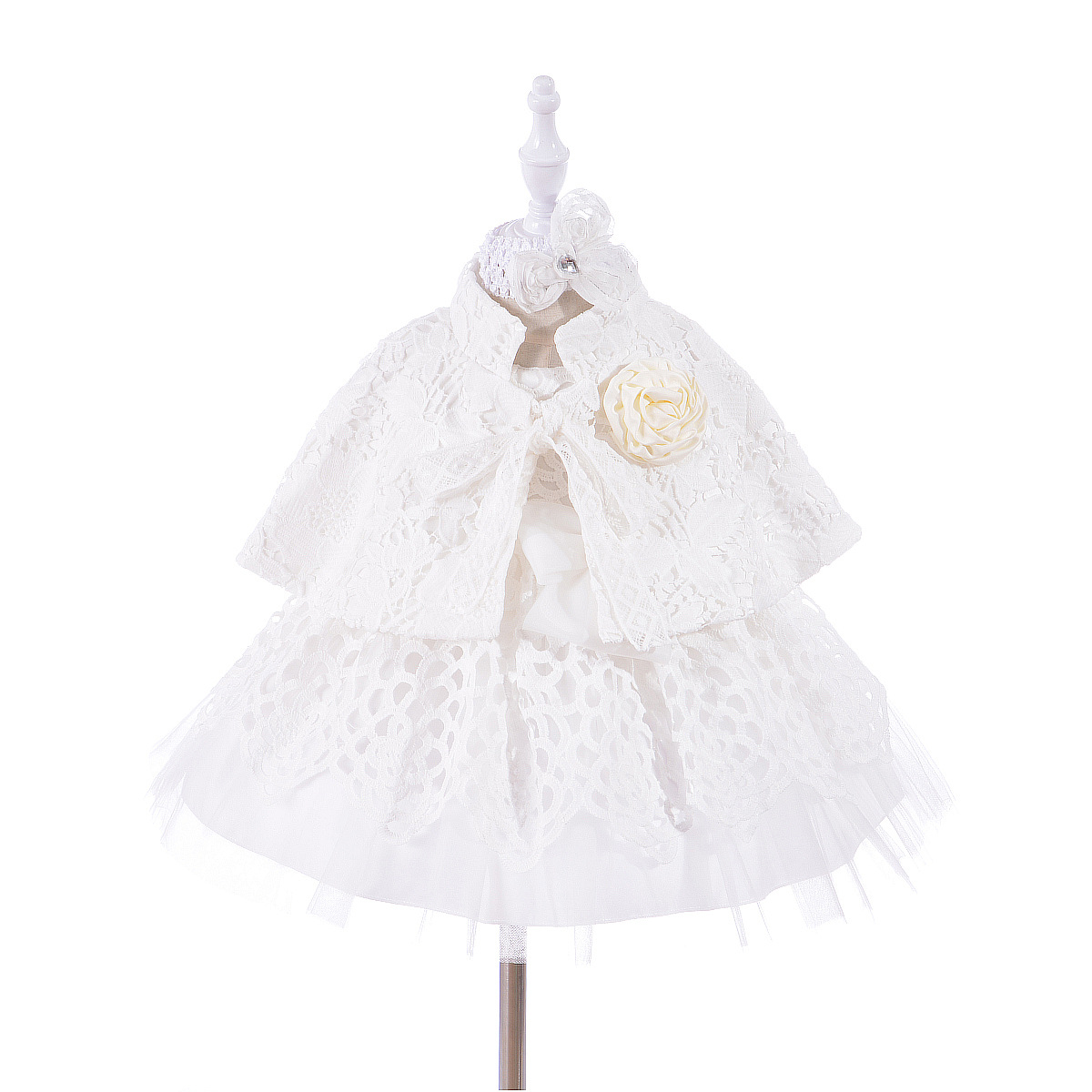 Christening Gown Embroidered Baptism Dress with Headband/Cape Coat Newborn Baby Dress Lace Frocks Special Occasion Outfits A015 цена 2017