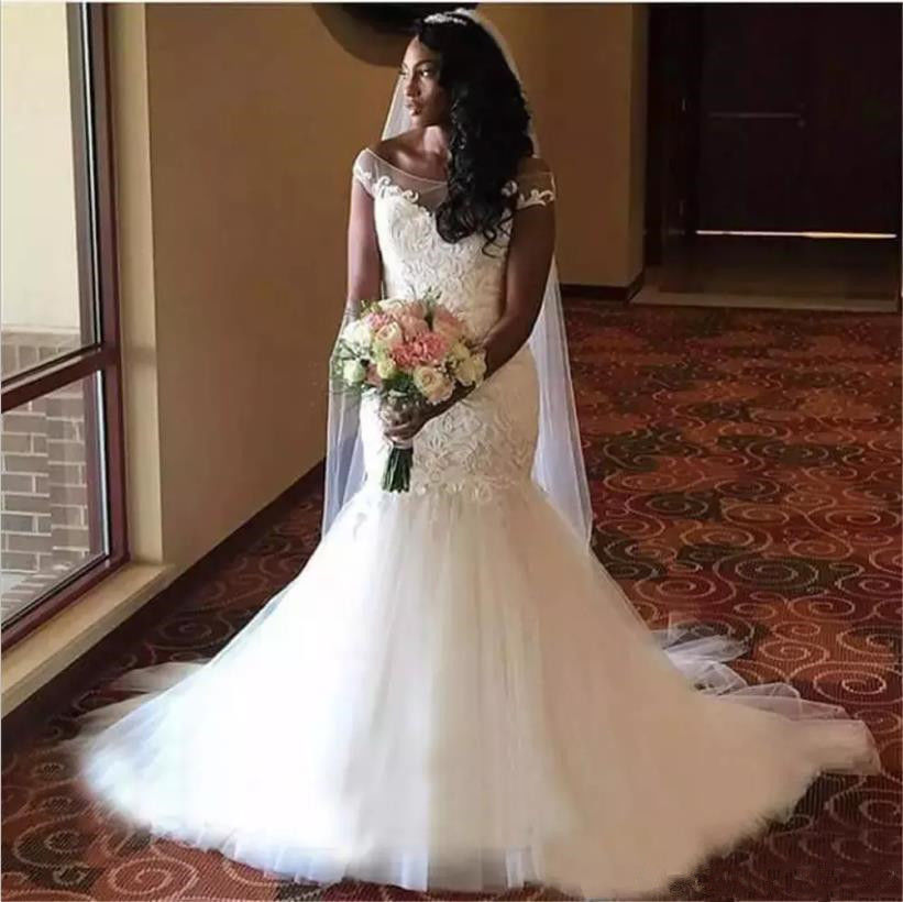 2020 African Off Shoulder Mermaid Bridal Gowns Applique Ivory Long Wedding Dress Party Dresses Custom Made Plus