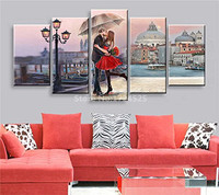 Romantic Lover Kiss In Paris Modern Canvas Painting Decorate Couple Living Room Wedding Room Wall Picture