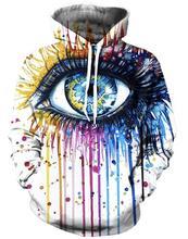 Мужчины Женщины Harajuku Толстовка Красочные Окрашенные Глаза 3D Толстовки Мужчины Женщины С Капюшоном Кофты С Длинным Рукавом Верхняя Одежда Толстовка