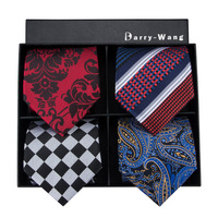 4P 11 Barry.Wang New Men Tie Top Quality Stripes Classical Jacquard Woven Necktie Hanky Cufflink Set For Wedding With Gift Box