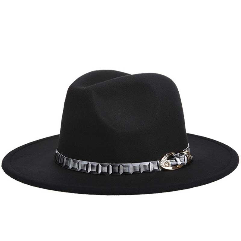 9ca354ff5435f Lã Jazz Chapéus Chapéu de Grande Aba do chapéu de Cowboy de Feltro Cloche  Fedora Panamá para As Mulheres Preto Trilby Derby Hat Fedora Com Cinto  Vermelho de ...