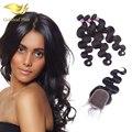 Класс 7А Девственные Волосы Бразильский Девственные Волосы с Закрытием Человеческих Волос weave с закрытием Бразильский Объемная Волна с Закрытием Кружева