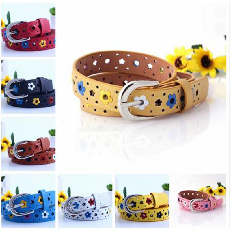 2017 Hollow Eyelets Kids Belt Child Waistband Classic Boys Girls Color Leisure Waist Strap Children PU leather Belts