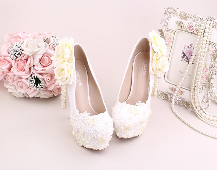 2_Women Dress Shoes For Wedding White Pearl Lace Flowers Bridal High Heel Platform Pumps 10cm 12cm 14cm Stilettos Footwear Online