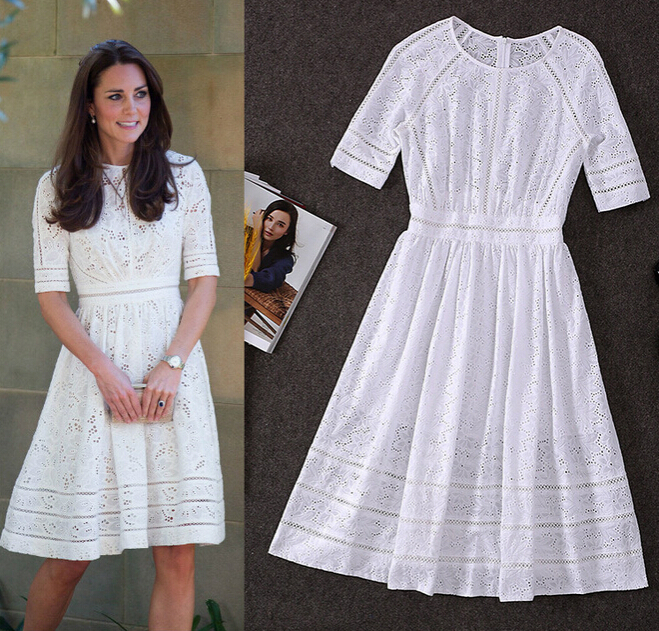 da037065f921 High Quality Kate Middleton Fashion Princess Dress Women s White Cotton  Embroidery Hollow Out Casual Mid Calf Dress Plus Size XL