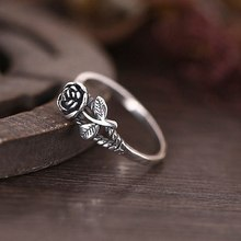 Silver Color Rose Flower Rings for Women Lover Engagement Gift Romantic Fashion Jewelry Gift Plant Flower Ring(China)