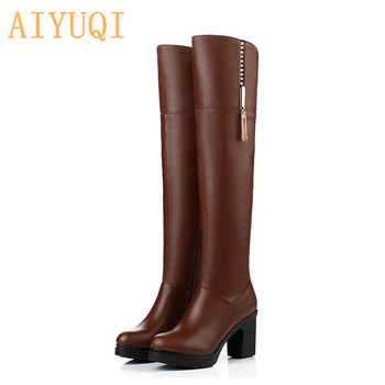 AIYUQI  Over The Knee Boots Women 2020 New Genuine Leather Platform Fur Fashion Motorcycle