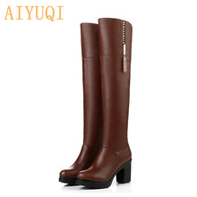 AIYUQI  Over the knee boots women 2019 new genuine leather platform Plus velvet fashion motorcycle