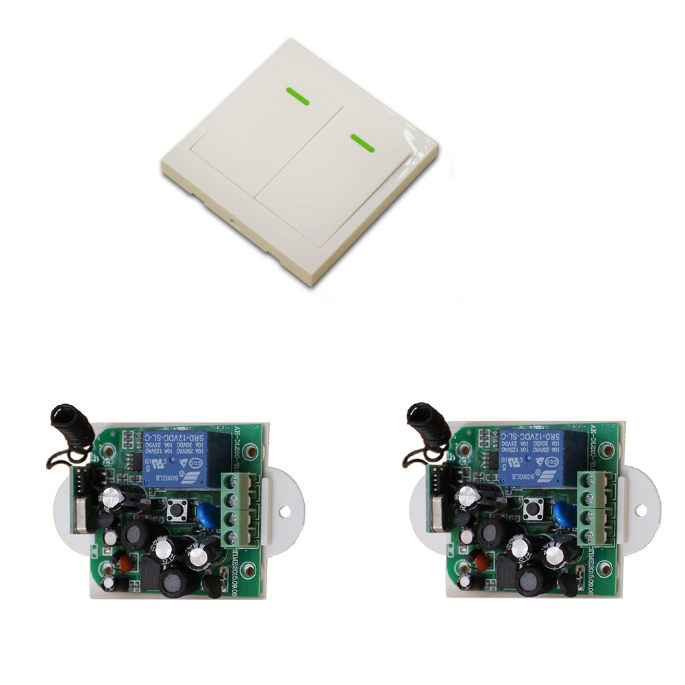 New AC85V 110V 120V 220V 250V 1CH Wireless Remote Control Switch System 2pcs Receiver + 1pcs Two-button Remote 315mhz/433mhz wireless pager system 433 92mhz wireless restaurant table buzzer with monitor and watch receiver 3 display 42 call button