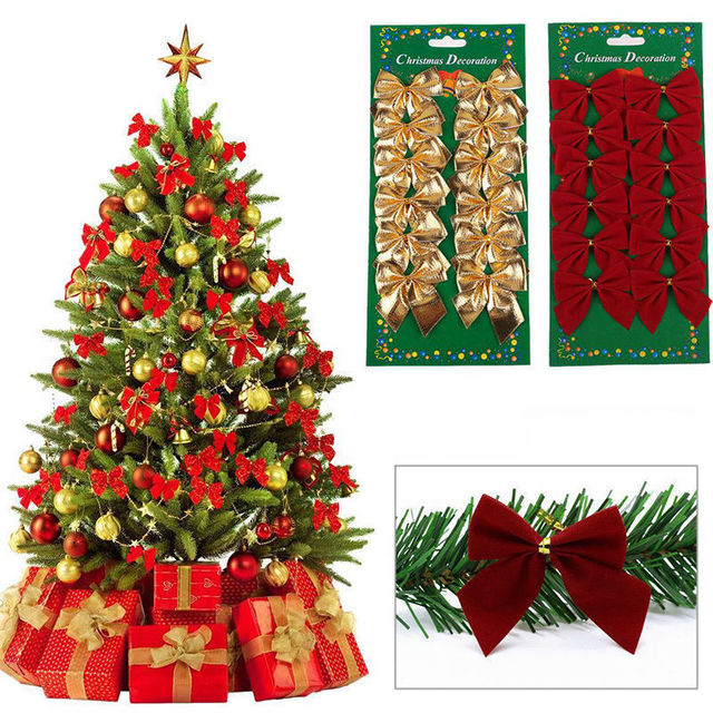 12 pcs Ouro Bonito Bowknots Enfeite De Natal Decoração Da Árvore de natal Do Partido Bowknots Enfeites de Ano Novo Xmas Decoração de Natal Para Casa
