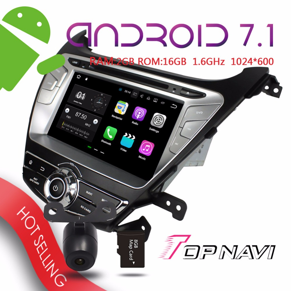 WANUSUAL 8 Android 7 1 Car GPS Navigation for Hyundai Elantra 2014 Auto Multimedia Bluetooth enable