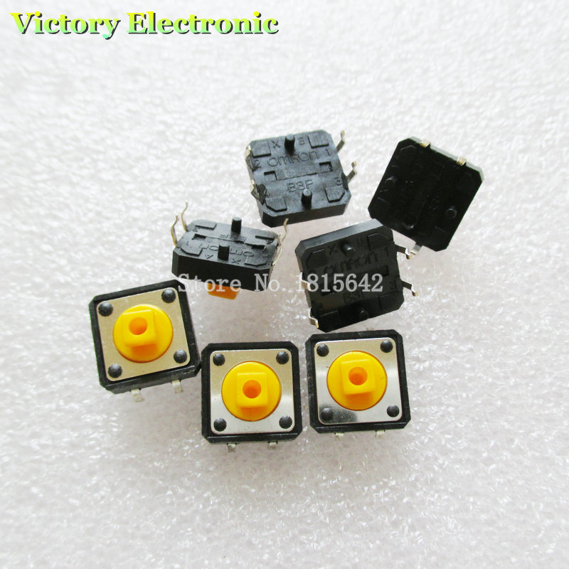 10PCS/Lot Tactile Push Button Switch Momentary Tact 12*12*7.3mm DIP Through-Hole 4pin New Wholesale