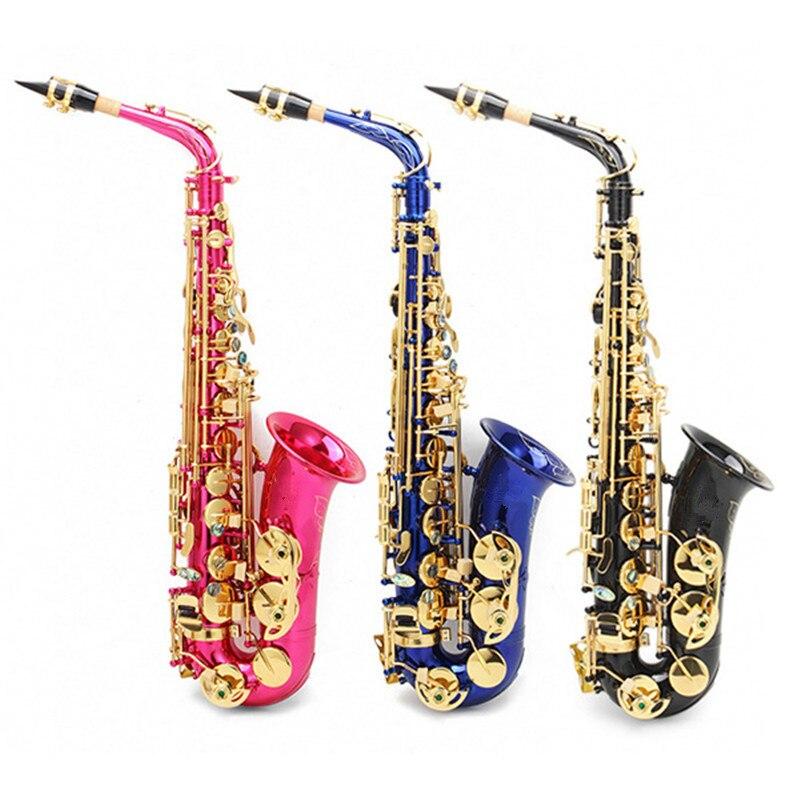 Alto Eb Colorful Engraved Sax Saxophone Set with Case Box Parts Set For Musical Woodwind Instruments Lover replacement alto saxophone leather pads set brown 26 pcs 1 set