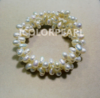 Lovely Good Quality Shiny Rice White Natural Freshwater Pearl Bracelet 2 3 Rings Around Wrist Of
