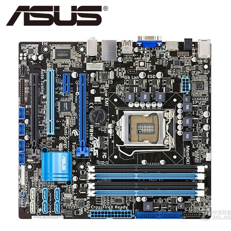 Asus P8H67-M Desktop Motherboard H67 Socket LGA 1155 i3 i5 i7 DDR3 32G u ATX UEFI BIOS Original Used Mainboard On Sale asus p5ql cm desktop motherboard g43 socket lga 775 q8200 q8300 ddr2 8g u atx uefi bios original used mainboard on sale