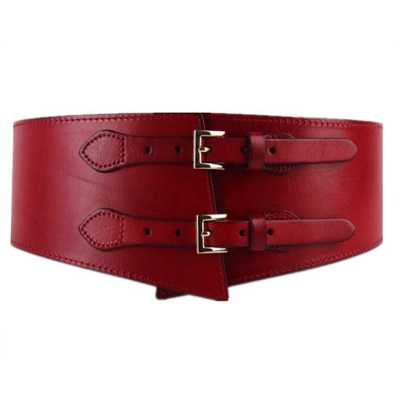 2017 Double leather ladies vintage elegant wide belt leather girdle all match female fashion leather belts