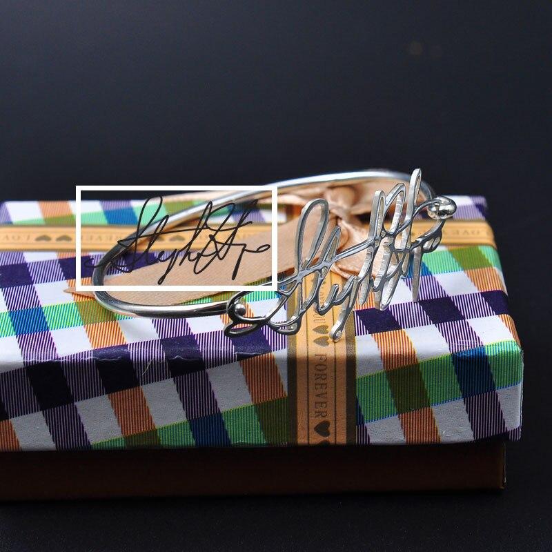 Personalized Signature Bangle Solid Nameplate Bangle Custom Thin Bangle Fashion Jewelry Gift