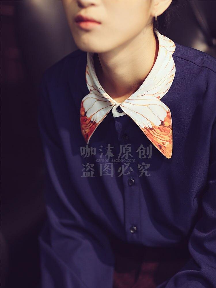 Spring Autumn Original Design Women Dark Blue Color Block Aesthetic Elegant Vintage Butterfly Print Shirt