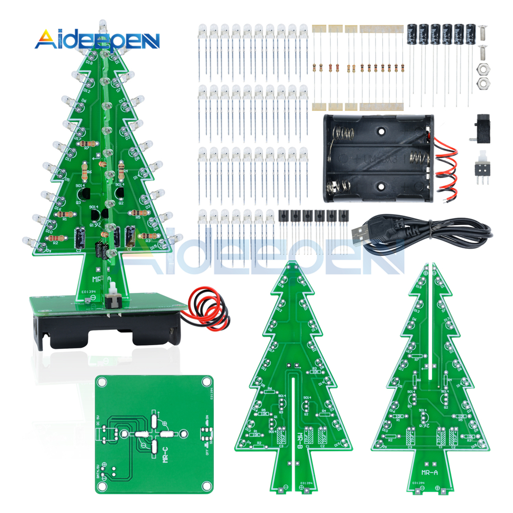 Colorful Christmas Diy Gift Tree Led Lights Flash Production Of Function Lamp Electronic Circuits And Diagram Three Dimensional 3d Kit Red Green Yellow