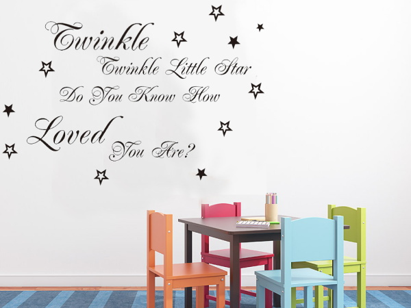 Lírica Canção Popular Twinkle Twinkle Little Star Quote Wall Stickers Home  Decor Vinil Adesivos De Parede Decoração Home Para O Quarto Dos Miúdos Part 85