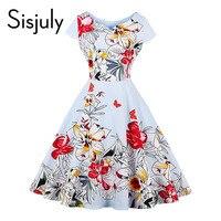 Sisjuly 1950s Vintage Dresses Women Autumn Floral Print Short Sleeve Dress O Neck Party Elegant Vintage
