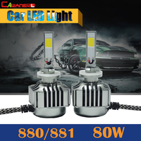 2 Pieces 880 881 80W 8000LM LED Light 6000K White Replacement Car Headlight Fog Daytime Running