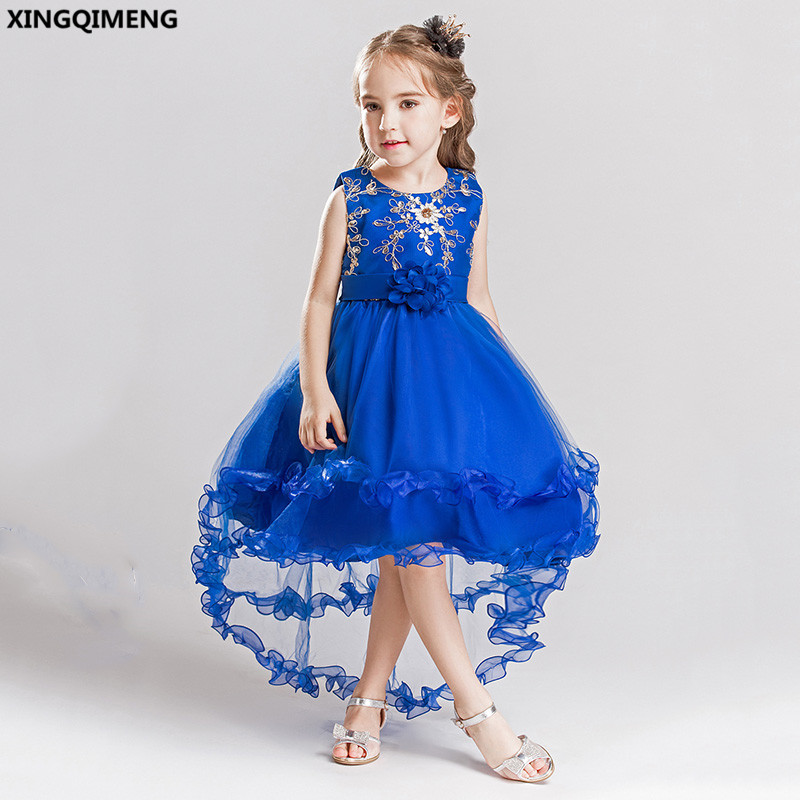 In Stock Royal Blue High Low Flower Girl Dresses 3-16Y First Holy ...