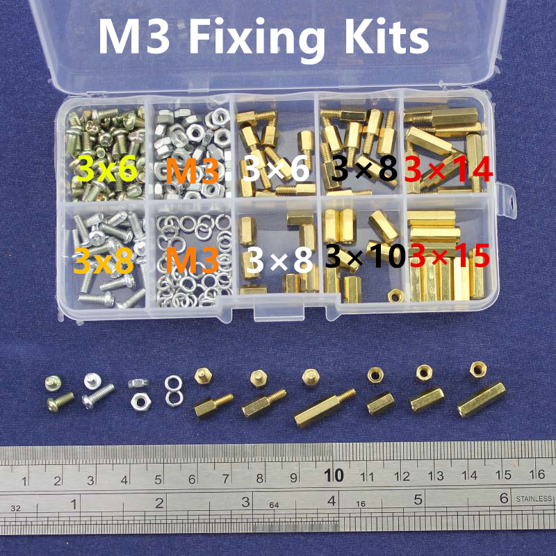 NEW M3 Brass Spacer Standoff / Screw / Nut Male Female PCB Board Screw Assortment Kit Set #M3 300pcs set m3bh1 m3 4 12mm male female brass hex column standoff support spacer pillar screw nut assortment for pcb board