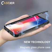 CASEIER Magnetic Adsorption Case For iPhone X 8 7 6s 6 Plus Tempered Glass Back Cover Accessories