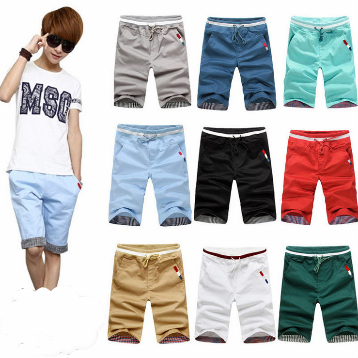 Plus Size 4XL Summer Men Shorts Cotton Beach Shorts Solid Color Casual Shorts Bermuda Ma ...