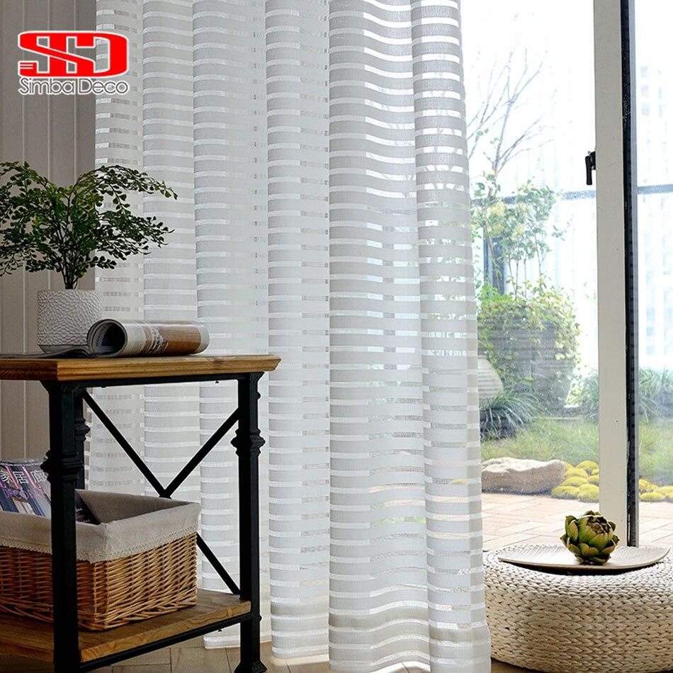 ventana de cortinas de tul para la sala de estar moderna de rayas blanco voile sheer