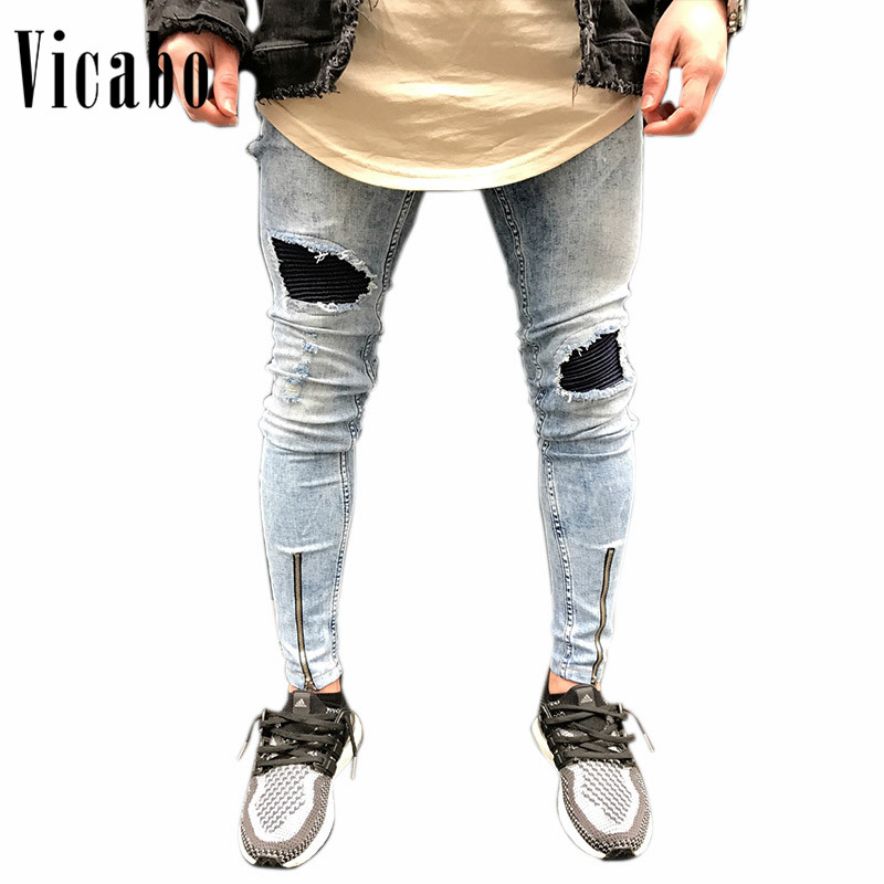 Vicabo Mens Summer Casual Straight Slim Light Gray Jeans Knee Holes Ankle Zipper Hi-Street Washed Destroyed Jeans