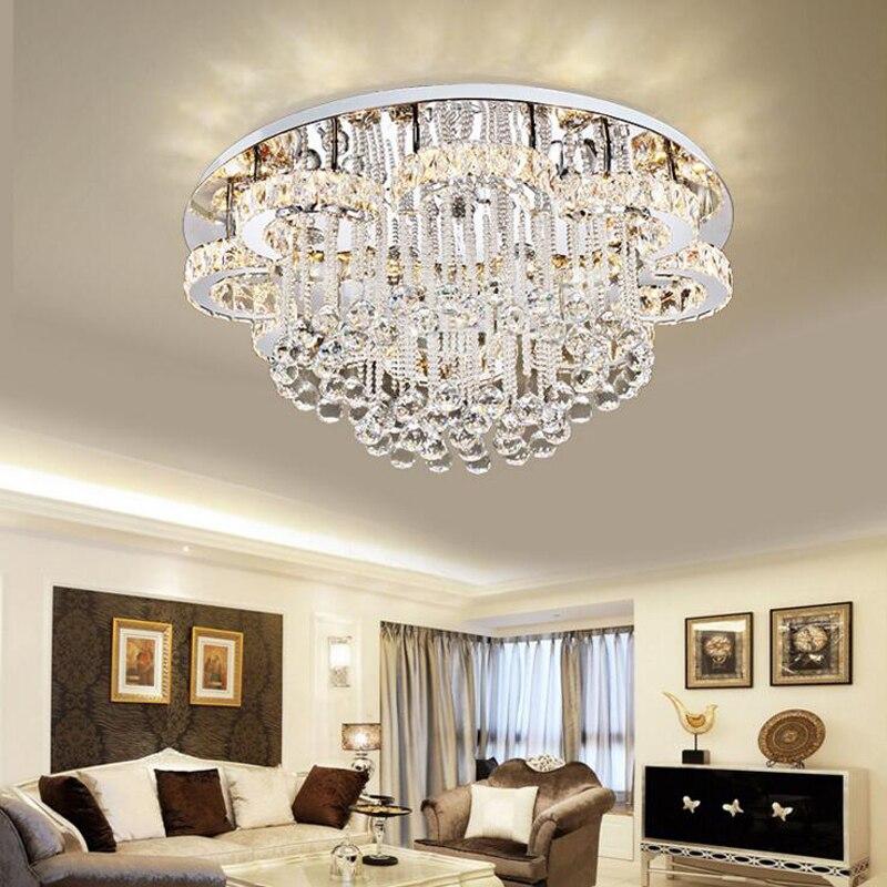 New led ceiling lamp living room lighting simple modern crystal lamp round European bedroom restaurant lighting led fixture lamp