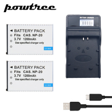 2Pack EN-20 3.7V 1200mAh Li-ion Battery+1Port Battery Charger with LED For CASIO EX-S880 EX-Z6 EX-S880RD Exilim Card EX Zoom z1