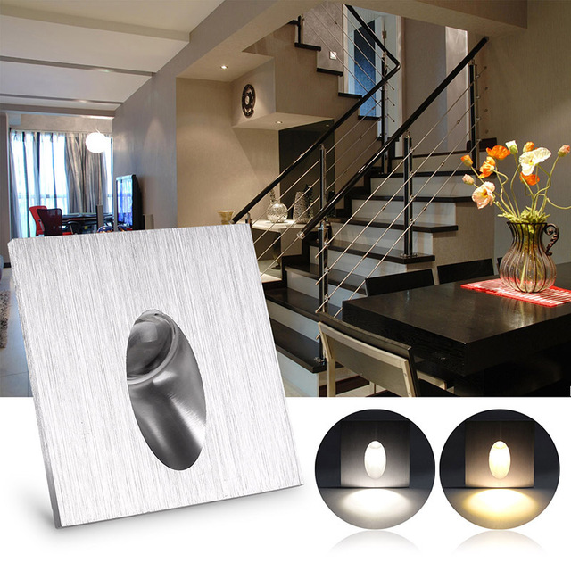 Ac 100 245v wall lamp 1w square led recessed porch pathway step ac 100 245v wall lamp 1w square led recessed porch pathway step stair light basement aloadofball Choice Image