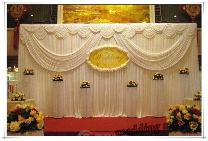 3 м * 6 м Белый Ice Шелковый Свадьба фон занавес с гирлянды свадебные реквизит Атлас драпировка плиссированные свадебное Stage аксессуары фонов