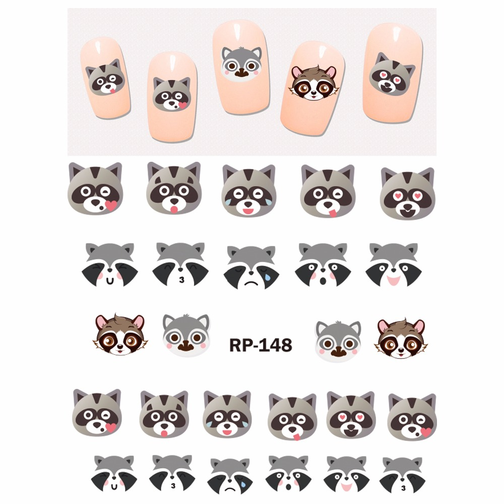 Image 2 - UPRETTEGO NAIL ART BEAUTY NAIL STICKER WATER DECAL SLIDER CARTOON ANIMAL KANGAROO RACCOON CAT XMAS HEDGEHOG RP145 150-in Stickers & Decals from Beauty & Health