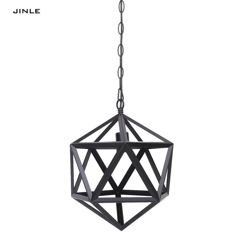 2017 Leuchte Jinle Vintage Eisen Rhombus Form Pendelleuchte Metall Lampenschirm Droplight Innen E27 Led 3000 Karat Quelle Hngen