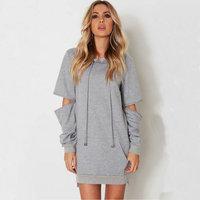Autumn New Women Cuff Zipper Hooded Fashion Cotton Sweatershirt Loose Gray Long With Pocket Europern Style Casual Sweatshirts