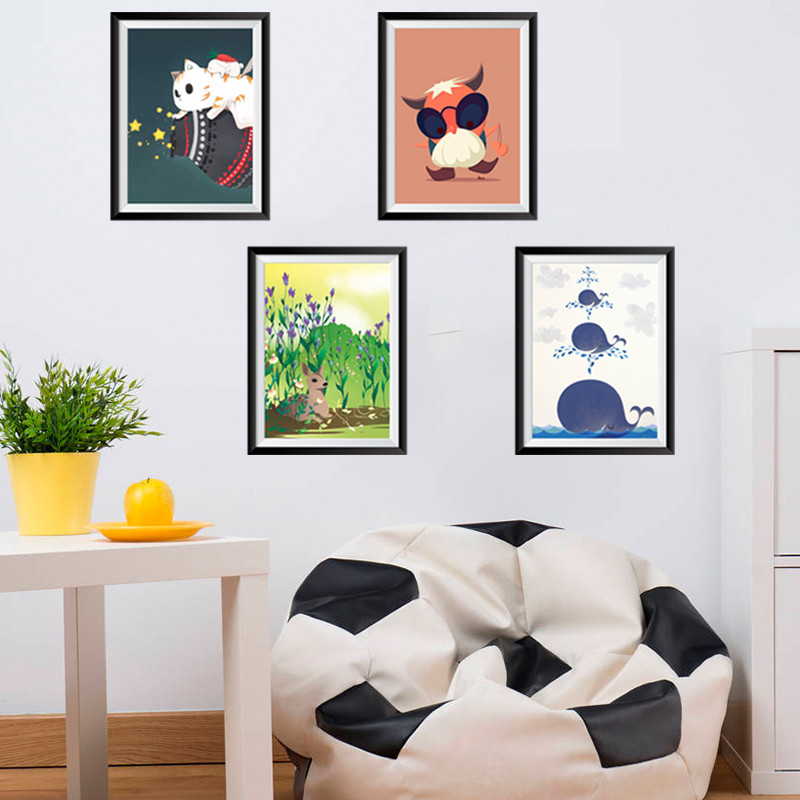 Animals owl photo frame wall Stickers decals art office room home decorations diy pvc decals kids gift