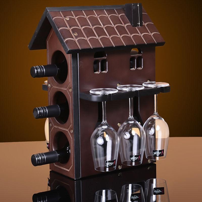 1set Creative 28x25x39m Wood Wine Rack Furniture Decorative Champagne Stemware Wine Holder