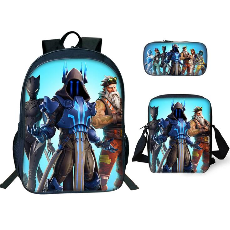 3 Pcs set Children School Bags 3D Anime Pattern Battle Royale Game Logo Backpack for Teen