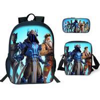 3 Pcs/set Children School Bags 3D Anime Pattern Battle Royale Game Logo Backpack for Teen Boys Girls Kids Book Bags Mochila