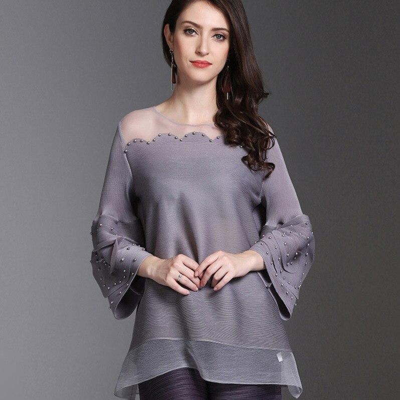 LANMREM 2019 European Fashion Large Size Women s Pleated Clothing Summer New Lantern Sleeves T shirt