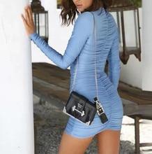 Sexy Women Bodycon Dress Blue Dresses Woman Party Night Ladies Fold Mini Buttocks Full Dress Club Wear Vestido 2019