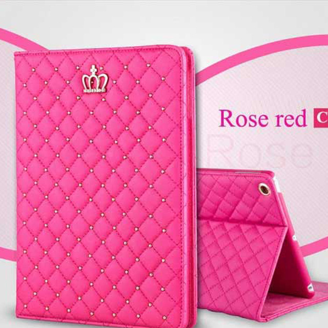 Fashion Leather Bling Crown Protective Smart Stand Cover For iPad 4 3 2 iPad4 iPad3 iPad2 Tablet case