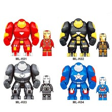 4pcs Marvel Avengers Iron Man Hulkbuster Figure Set Ironman Super Hero Building Blocks Model Bricks Kits Toys sermoido sale spiderman iron man captain america superman figure motorcycle super hero model cap building blocks set model kits
