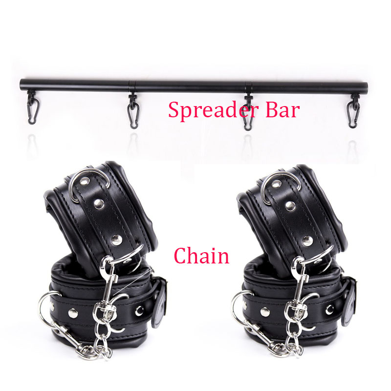 Double Function Handcuffs Ankle Cuffs Stainless Steel Adjustable Spreader Bar Bondage Set Sex Slave Restraints Shackles Sex Toys stainless steel spreader bar leather harness hand ankle cuffs metal bondage restraints frame adult games sex tools for couples